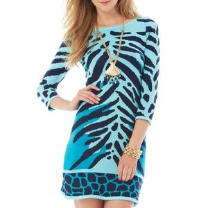 Lilly Pulitzer Animal Stripe Poly Sweater Dress